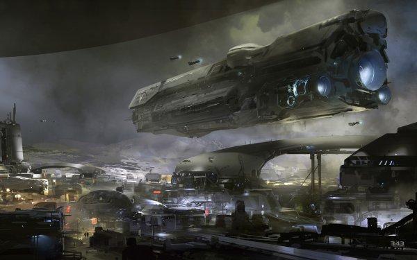 Videospel Halo 5: Guardians Halo Ruimteschip HD Wallpaper | Achtergrond