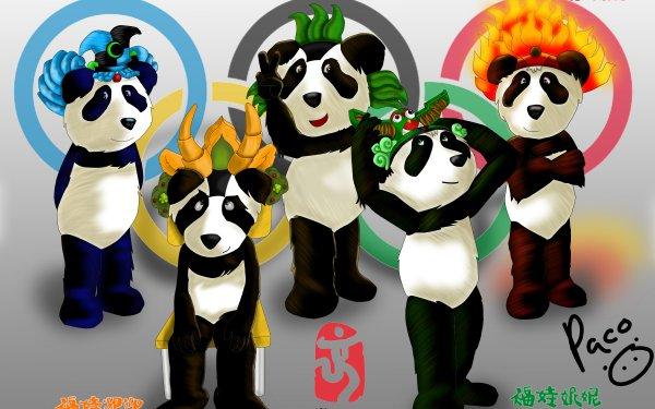 Sports Summer Olympics Beijing 2008 Fuwa Beibei Jingjing Huanhuan Yingying Nini Text Summer Olympics Beijing Logo HD Wallpaper   Background Image