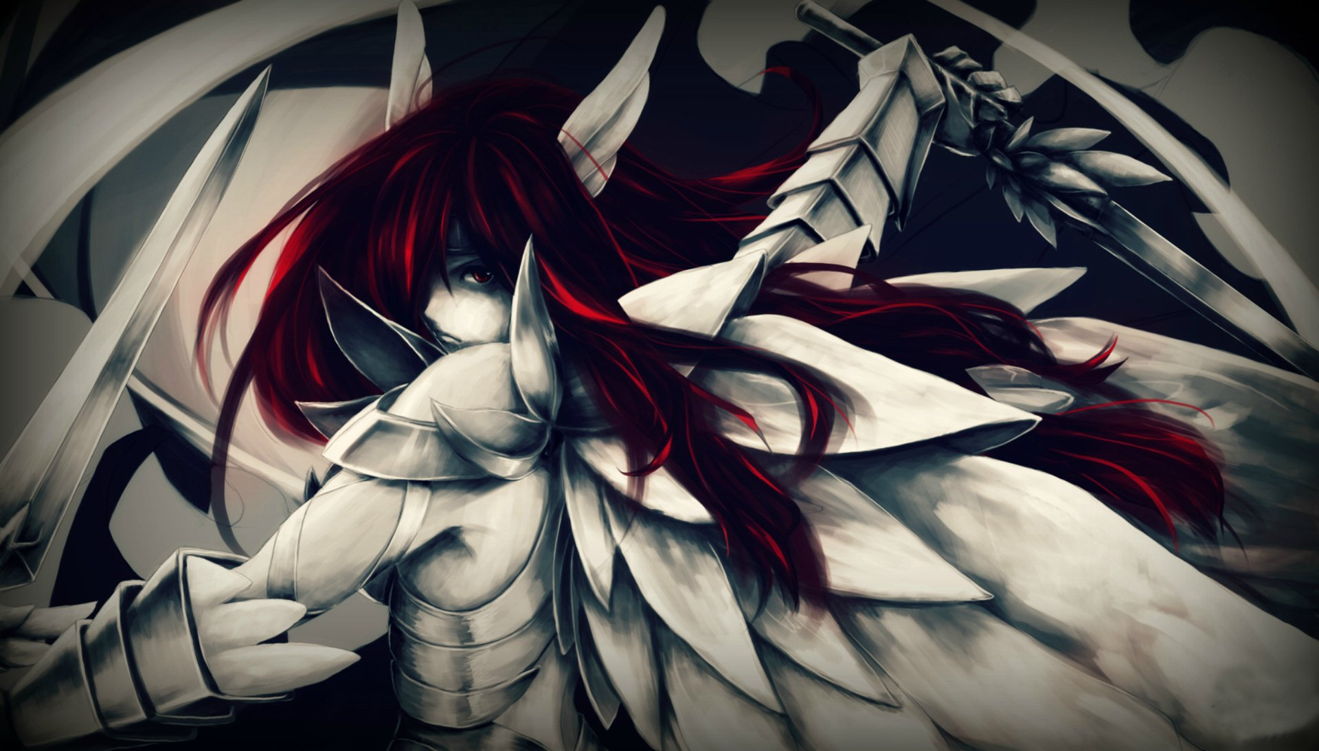 Anime - Fairy Tail  Erza Scarlet Armor Red Hair Long Hair Sword Wallpaper