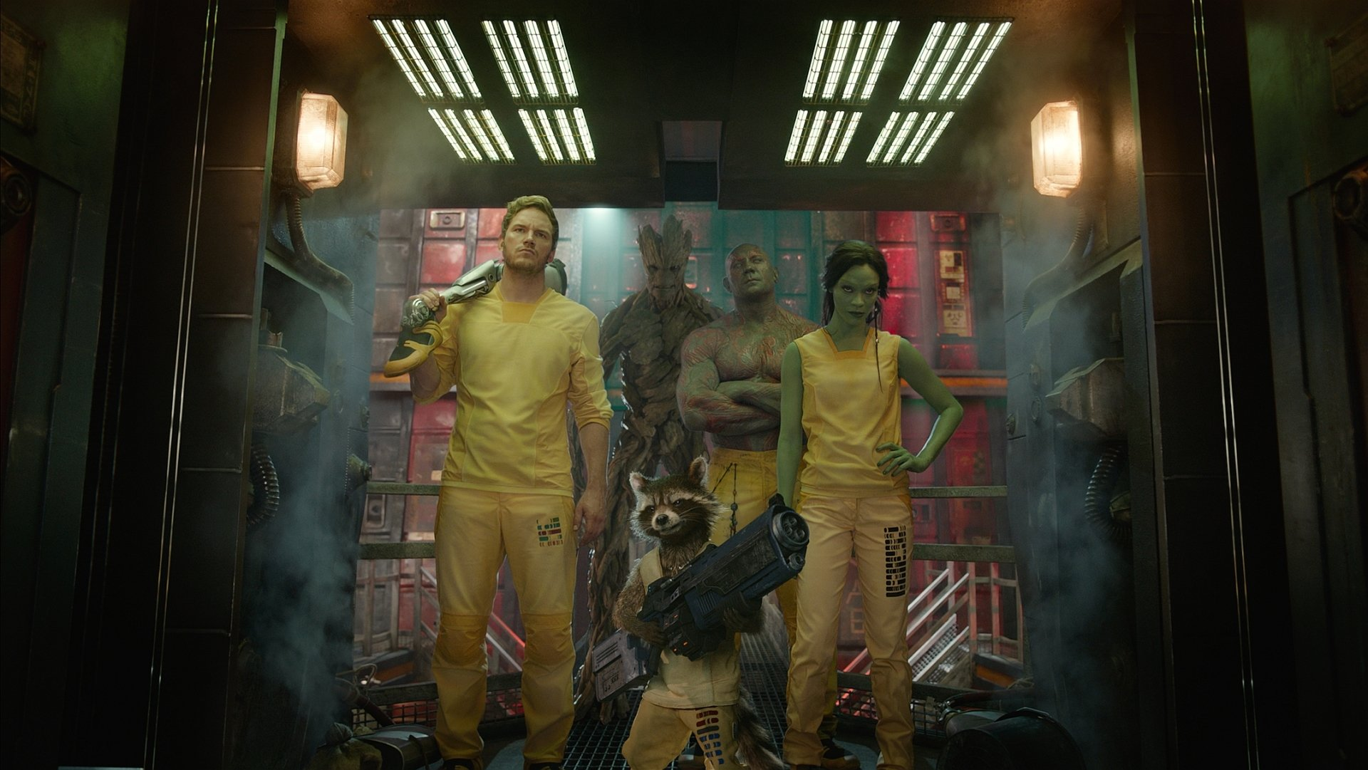 Movie - Guardians of the Galaxy  Peter Quill Drax The Destroyer Dave Bautista Groot Rocket Raccoon Chris Pratt Zoe Saldana Gamora Wallpaper
