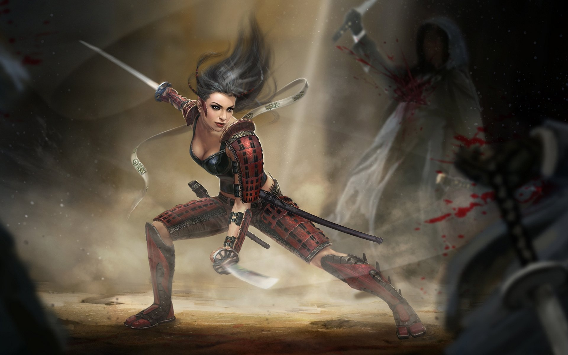 Fantasy - Samurai  Armor Woman Warrior Blood Sword Fantasy Girl Fight Wallpaper
