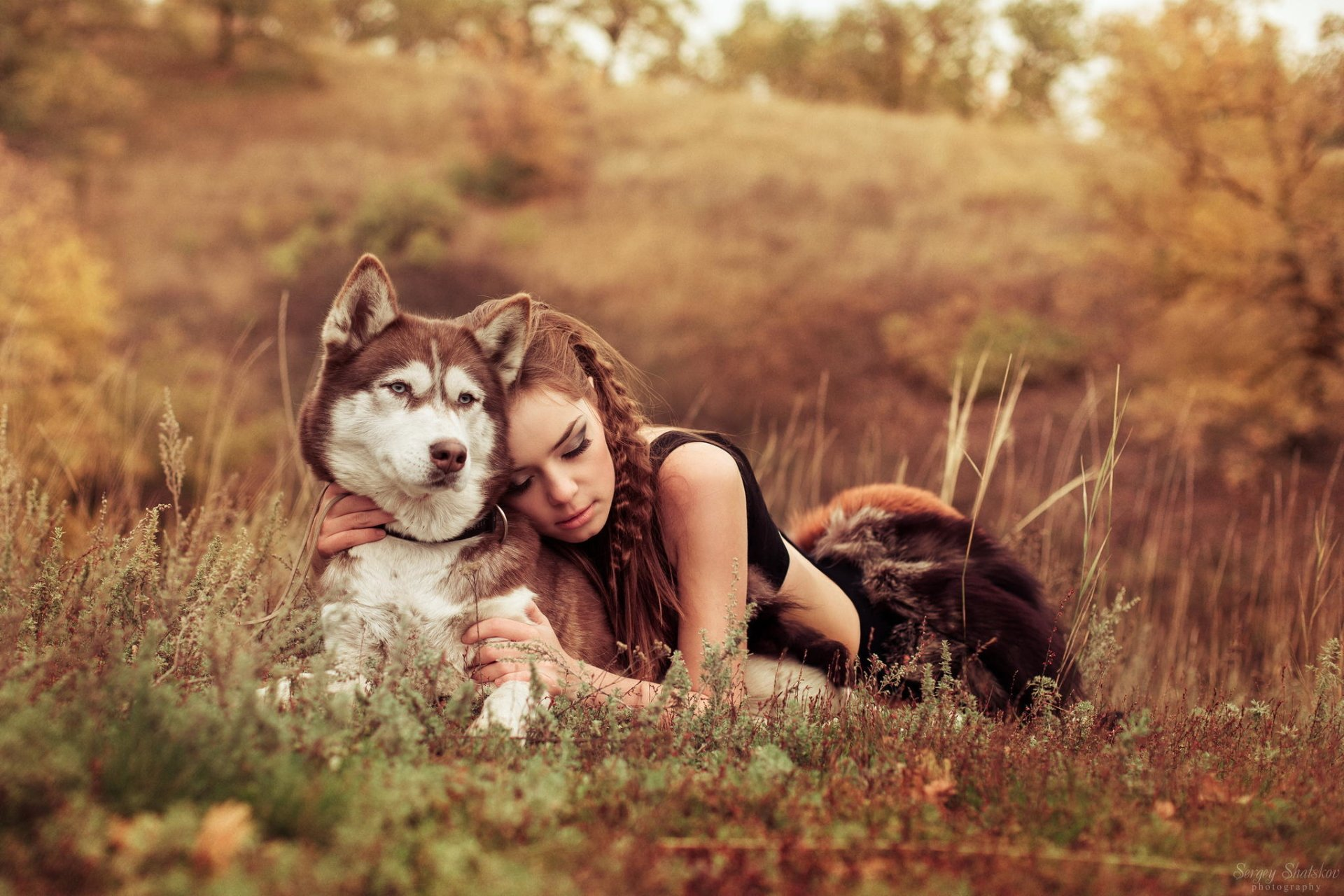Women - Mood  Dog Husky Wallpaper