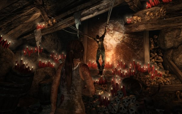Video Game Tomb Raider (2013) Tomb Raider Candle Skull Red Light HD Wallpaper | Background Image