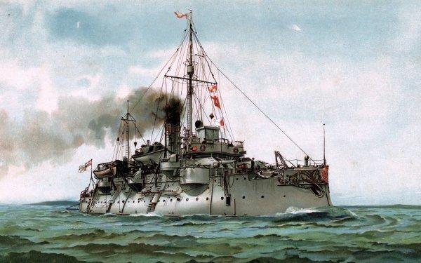 Military German Navy Warships Coastal Defence Ship SMS Frithjof HD Wallpaper | Background Image