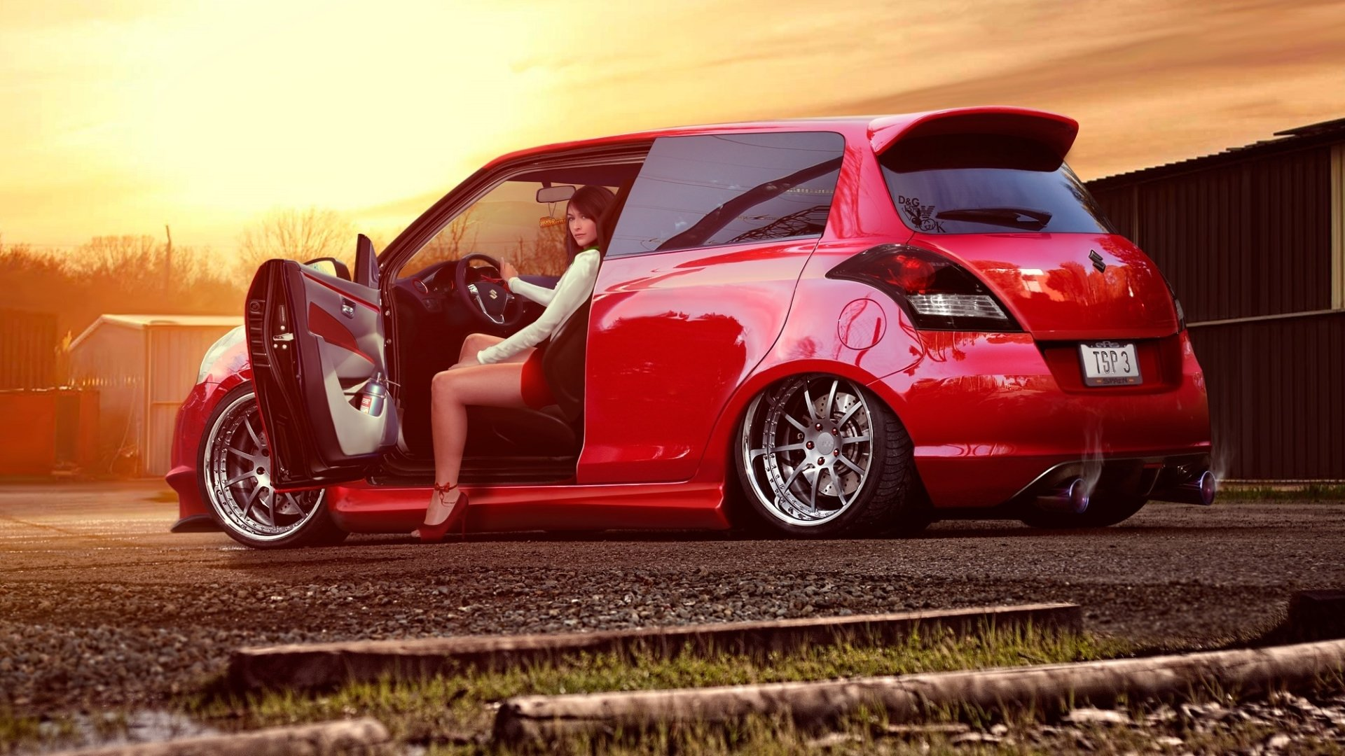 Women - Girls & Cars  Red Car Suzuki Wallpaper