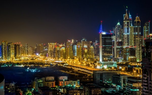 Man Made Dubai Cities United Arab Emirates Night City Light HD Wallpaper | Background Image