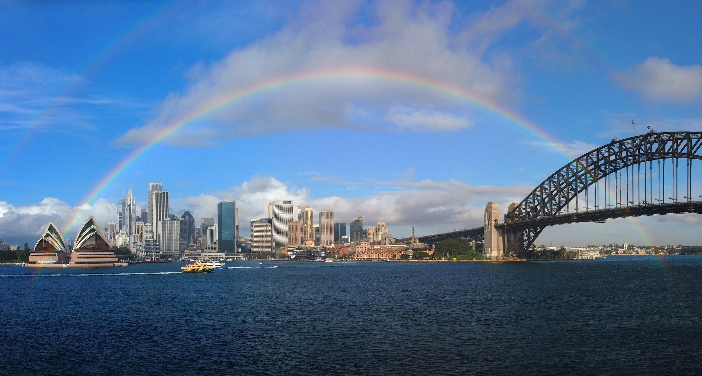 Rainbow Over Sydney Harbour Hd Wallpaper Background Image