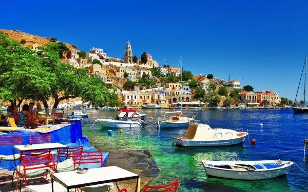 Man Made Halki Towns Greece Island Boat HD Wallpaper | Background Image