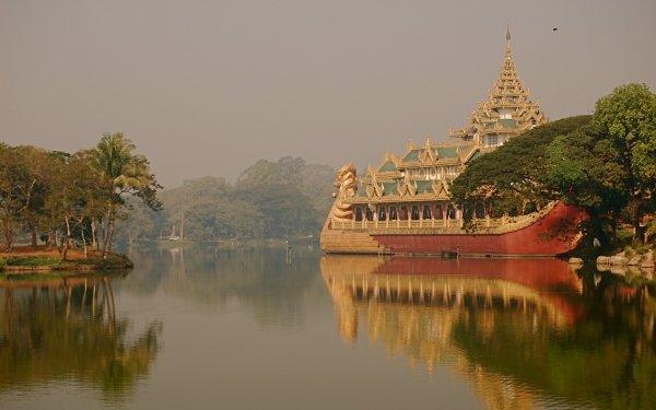 Man Made Karaweik Palaces Burma Yangon Myanmar HD Wallpaper | Background Image