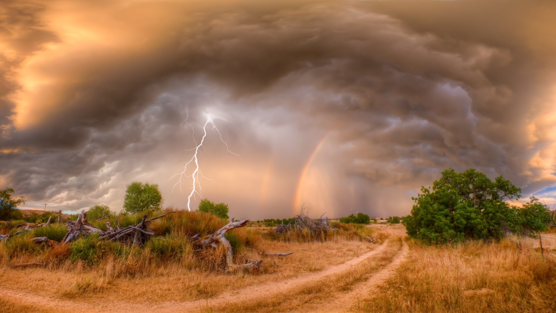 Photography - Lightning  Nature Sky Field Cloud Storm Rain Rainbow Tree Wallpaper