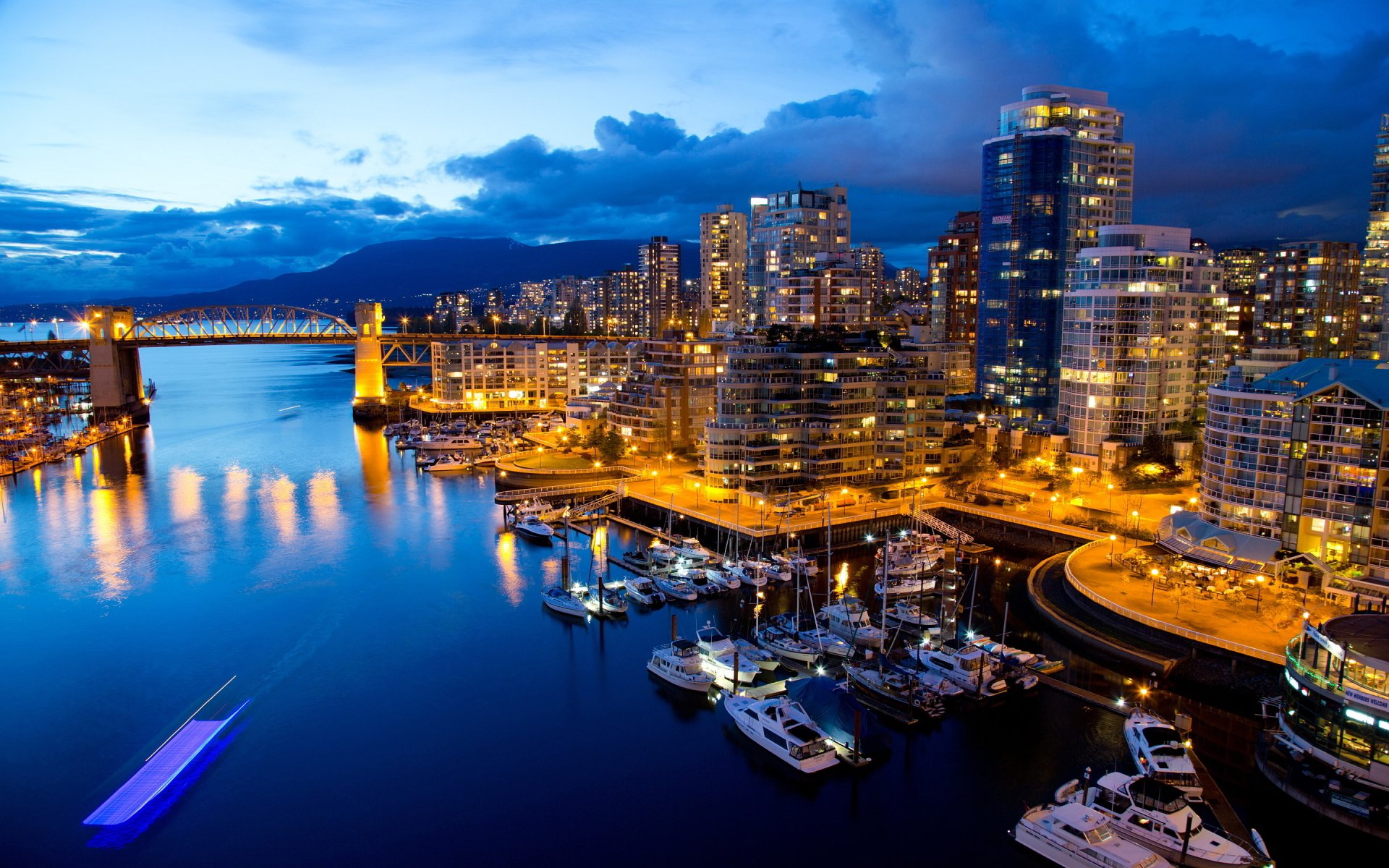 Man Made - Vancouver  City Building Canada Columbia Bridge Pier Boat Harbor Light Wallpaper