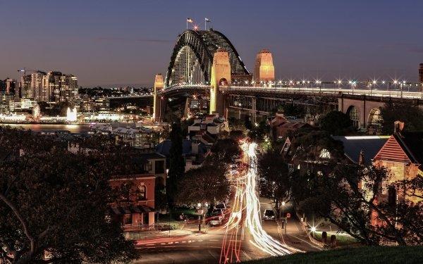 Man Made Sydney Harbour Bridge Bridges Bridge Night HD Wallpaper   Background Image
