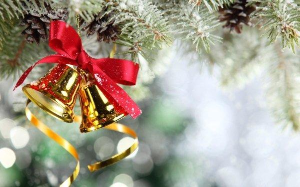 Holiday Christmas Ribbon Christmas Ornaments Bokeh Bell HD Wallpaper | Background Image