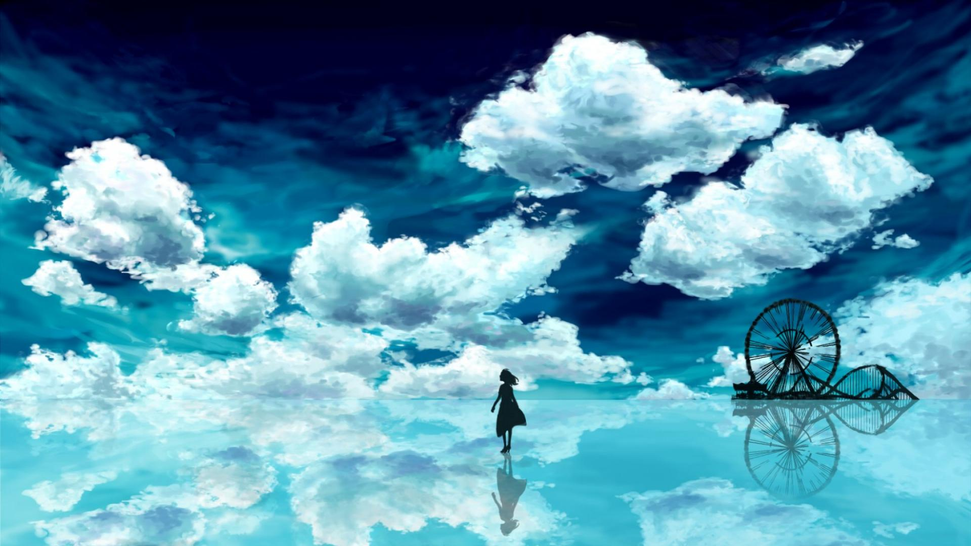 Anime blue sky hd wallpaper background image 1920x1080 - Blue anime wallpaper ...