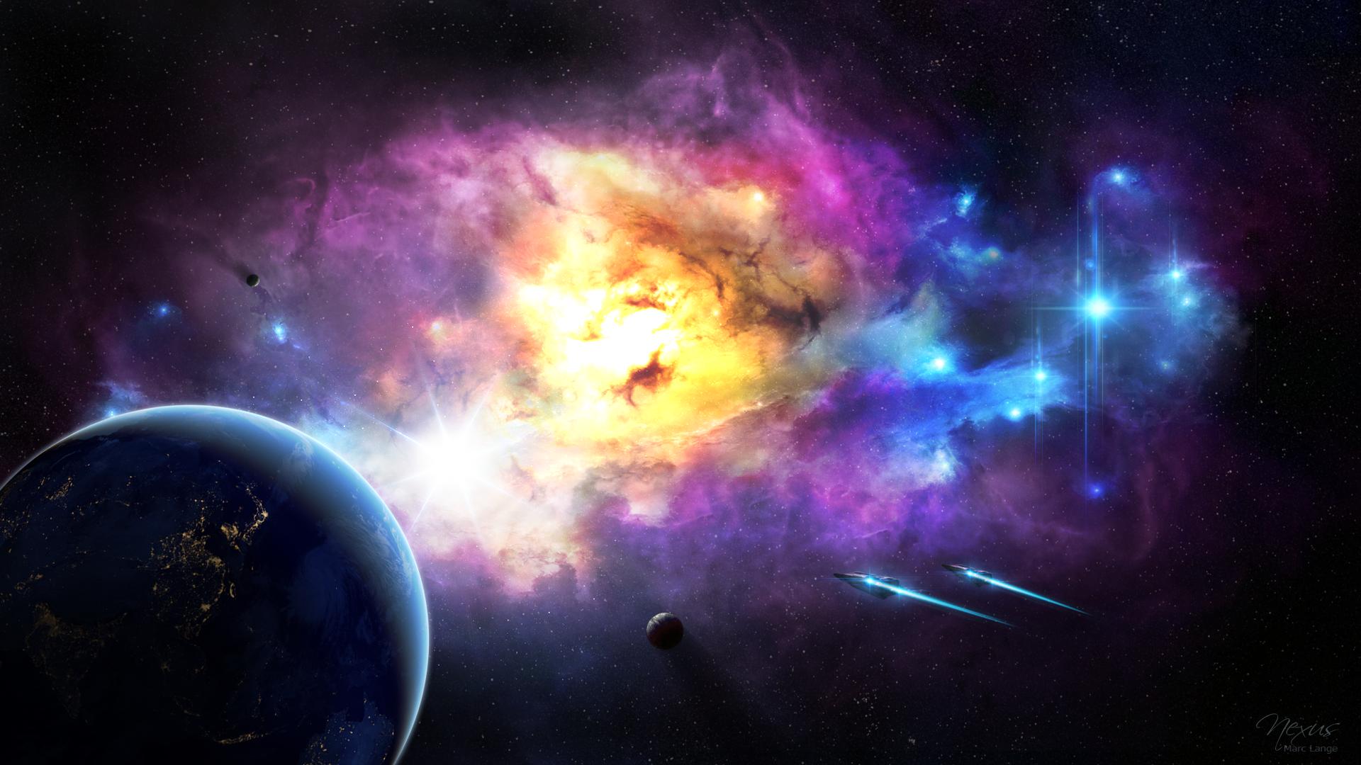 Sci Fi - Nebula  Stars Planet Earth Spaceship Sci Fi Science Space Wallpaper