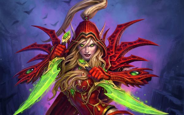 Videojuego Hearthstone: Heroes of Warcraft Warcraft Elfo Woman Warrior Rubia Pointed Ears Green Eyes Dagger Fondo de pantalla HD | Fondo de Escritorio
