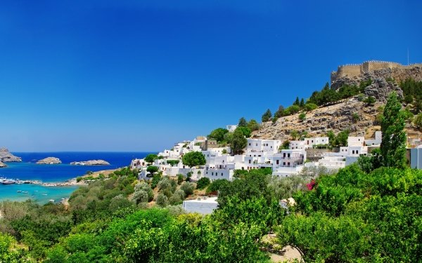 Man Made Rhodes Towns Greece Seashore Town HD Wallpaper | Background Image