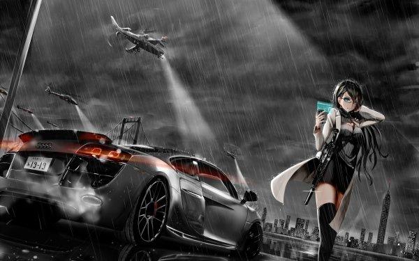 Anime Original Voiture Hélicoptère Audi Pluie Nuit Gun Black Hair Long Hair Blue Eyes Fond d'écran HD | Image
