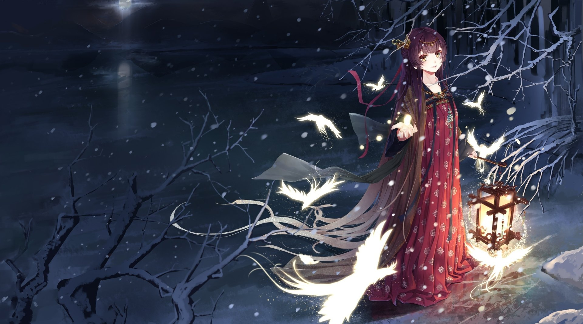 Anime - Original  Bird Lantern Girl Snowfall Winter Anime Original (Anime) Wallpaper