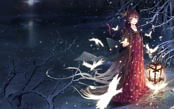 Anime Original Winter Snowfall Laterne Vogel HD Wallpaper | Hintergrund
