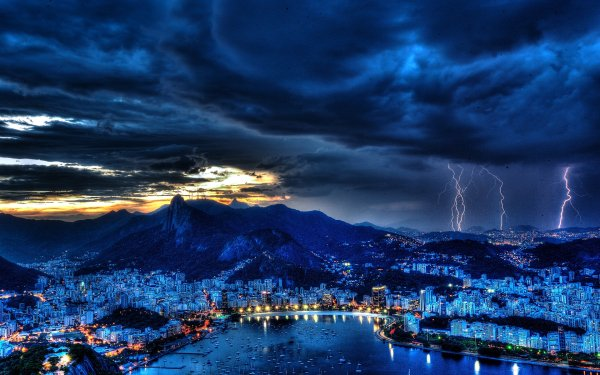 Photography Lightning Rio de Janeiro Brazil HD Wallpaper | Background Image