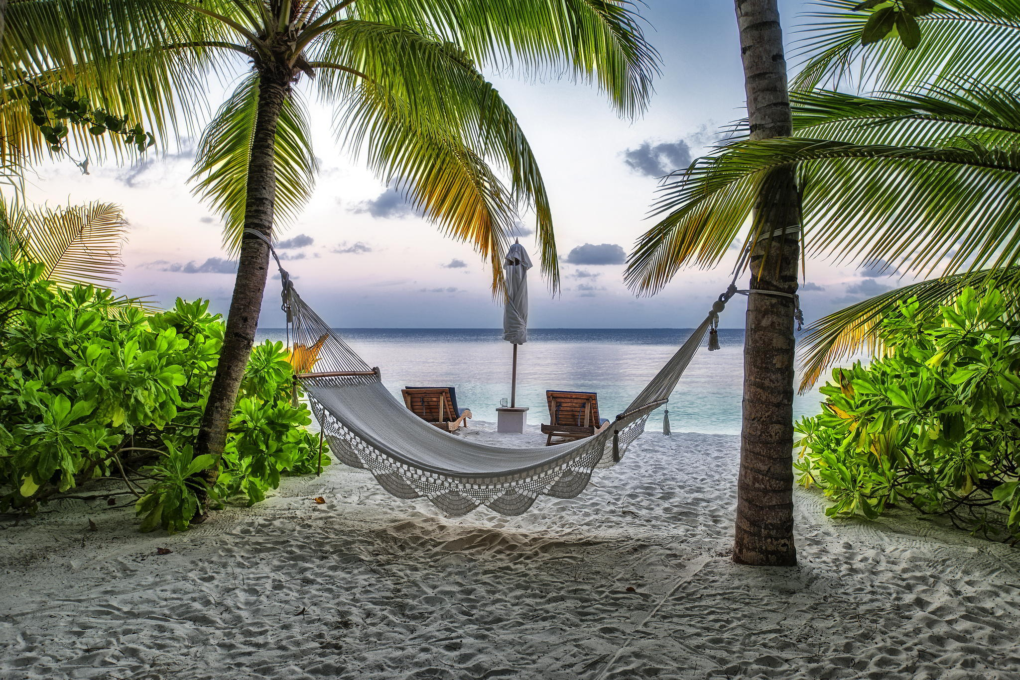Construction Humaine Hammock Maldives Seaside Plage Vacances Tropical ...