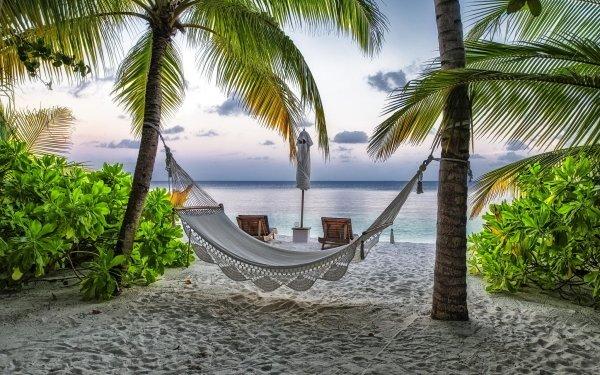 Konstgjord Hammock Strand Seaside Maldives Helgdag Tropical HD Wallpaper | Background Image