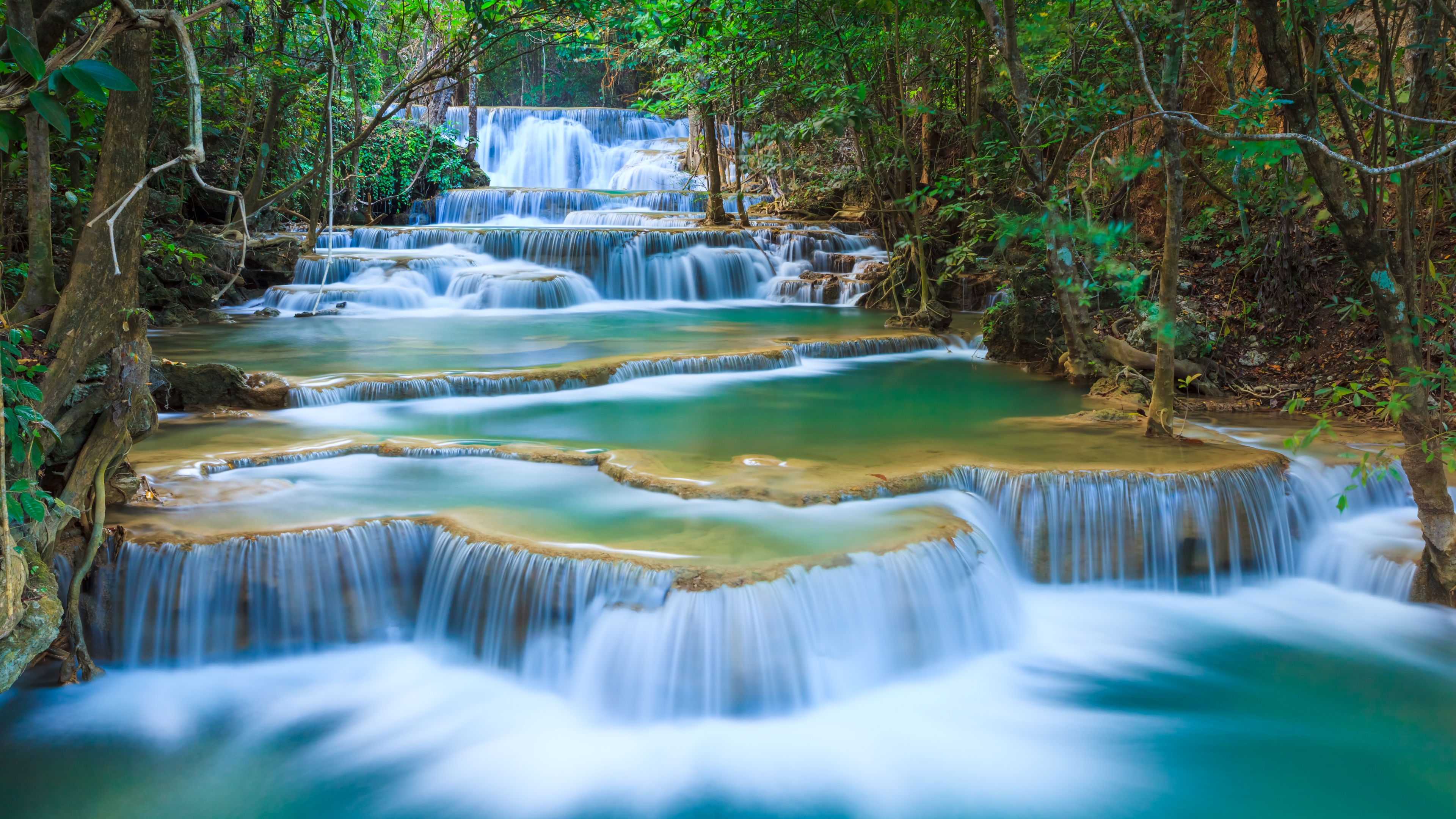 erawan waterfall 4k ultra hd wallpaper and background image