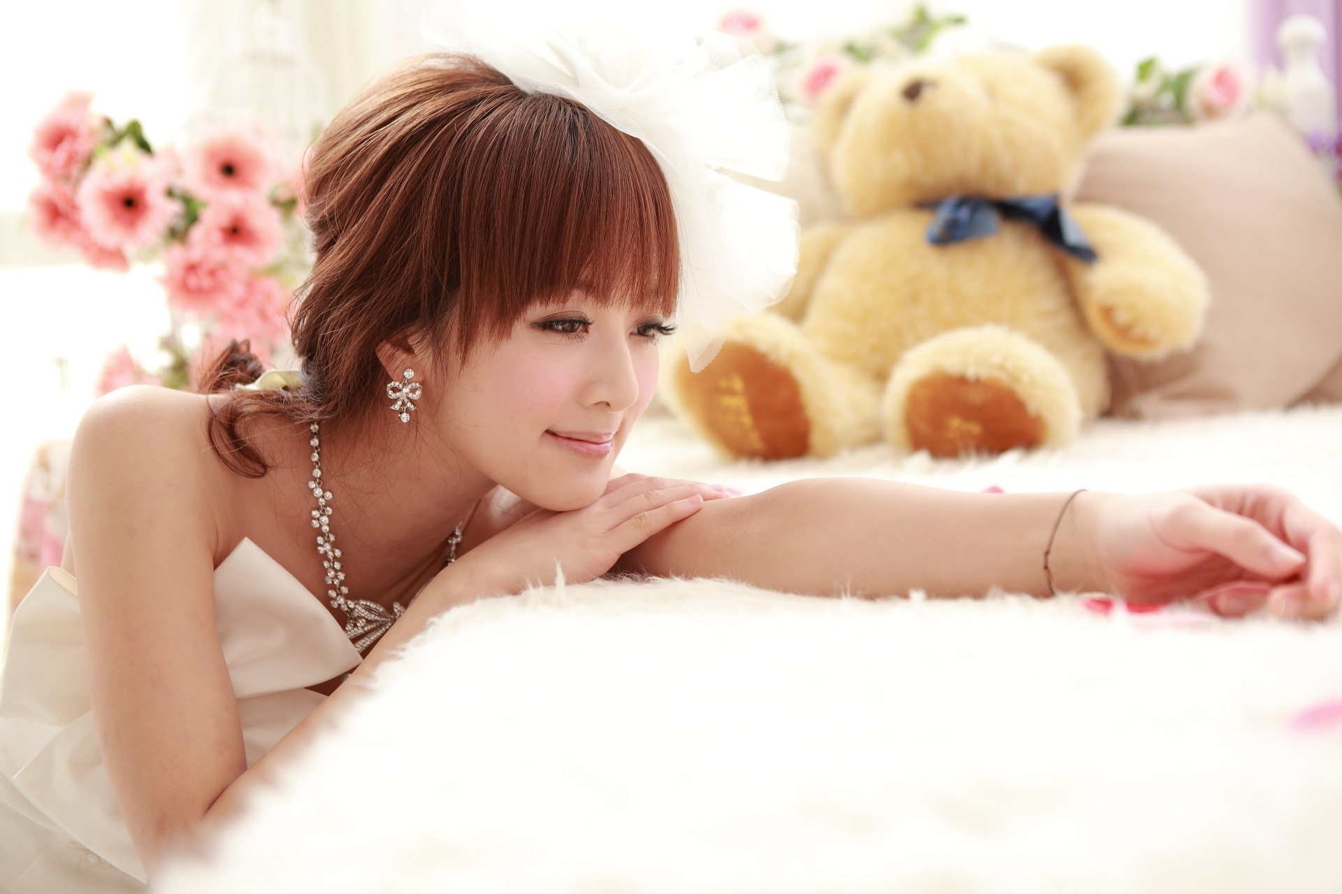 Women - Mikako Zhang Kaijie  Asian Smile Teddy Bear Dress Taiwanese Wallpaper