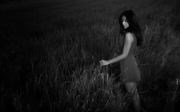 Women Asian Field Night Dress Monochrome HD Wallpaper | Background Image