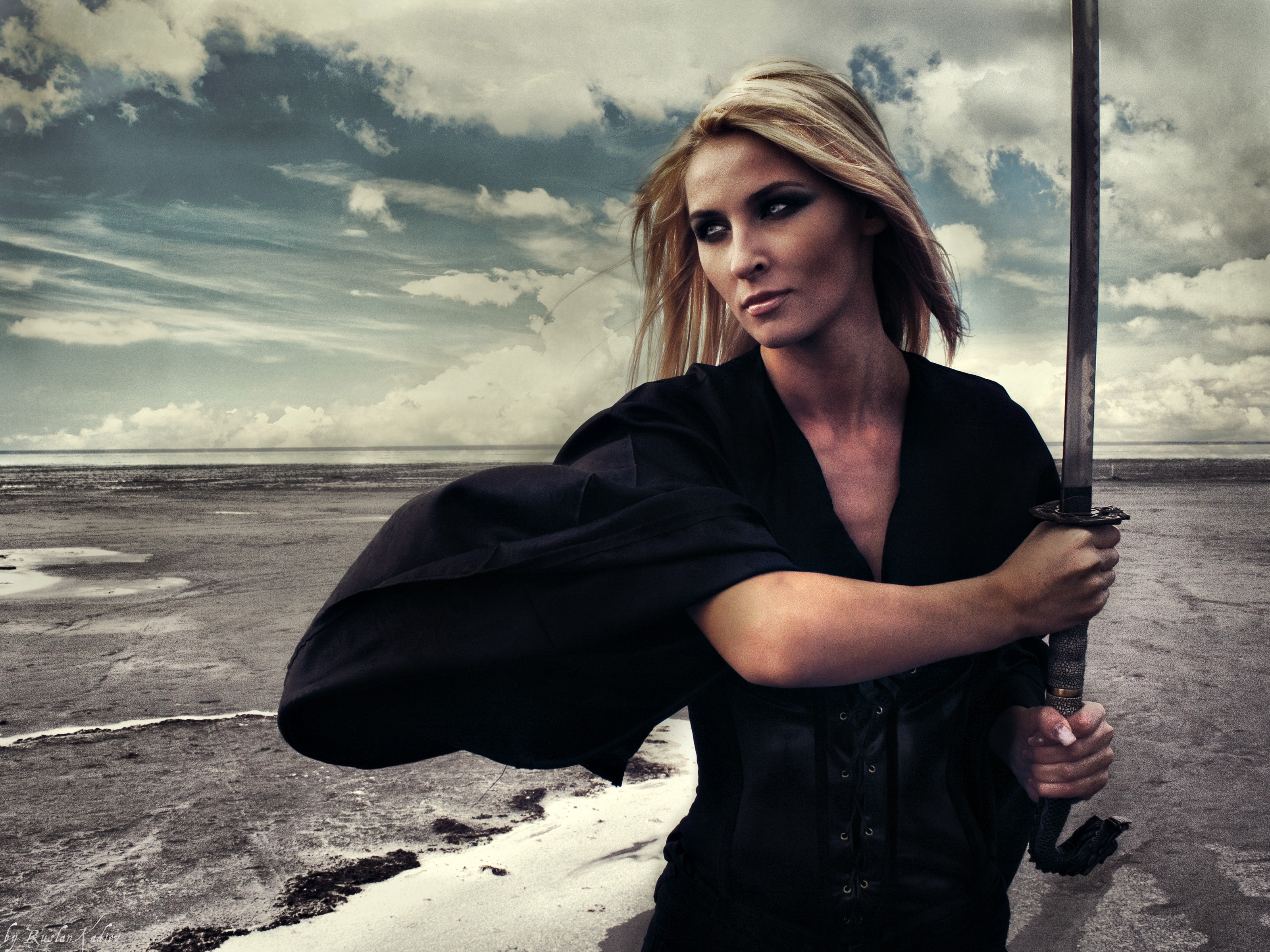 Model hd wallpaper background image 3200x2400 id - Girl with sword wallpaper ...
