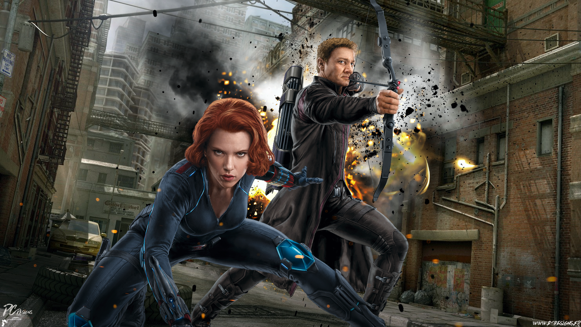Movie - Avengers: Age of Ultron  Avengers Black Widow Hawkeye Fan Art Scarlett Johansson Wallpaper