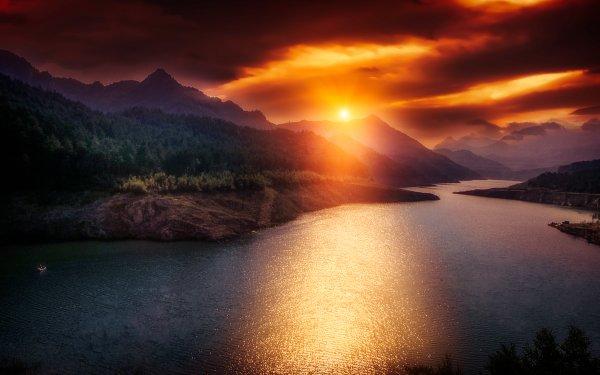 Earth Sunset Catalonia Spain Landscape Mountain Cloud Glow HD Wallpaper | Background Image