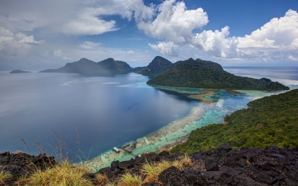 Earth Seascape Borneo Malaysia Tropics Selu Sea HD Wallpaper | Background Image