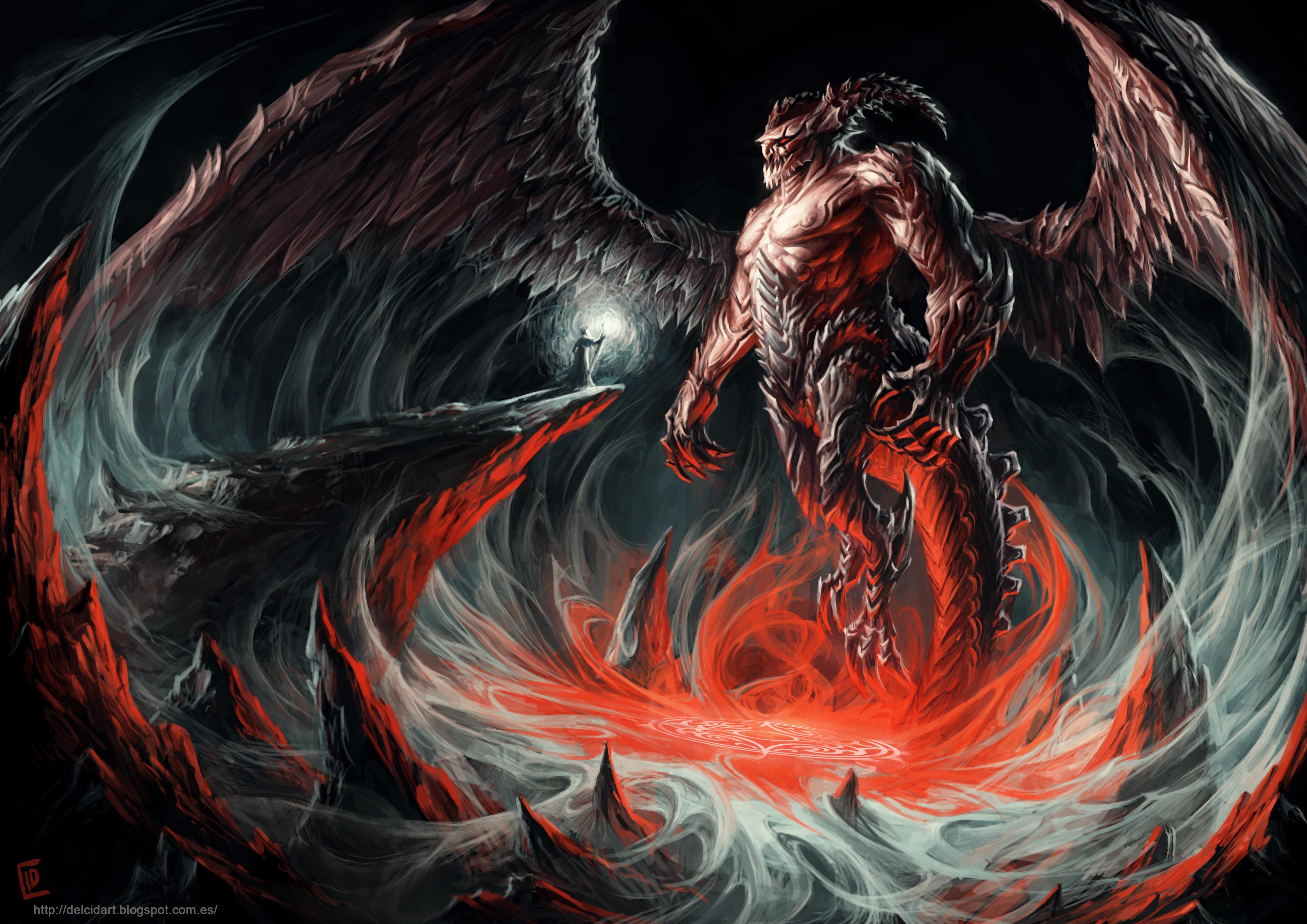 Fantasy - Demon  Magic Horns Wings Giant Wizard Fantasy Wallpaper