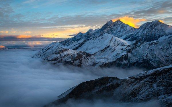 Earth Alps Mountain Mountains Alps Switzerland Summit Fog Sky Landscape HD Wallpaper | Background Image