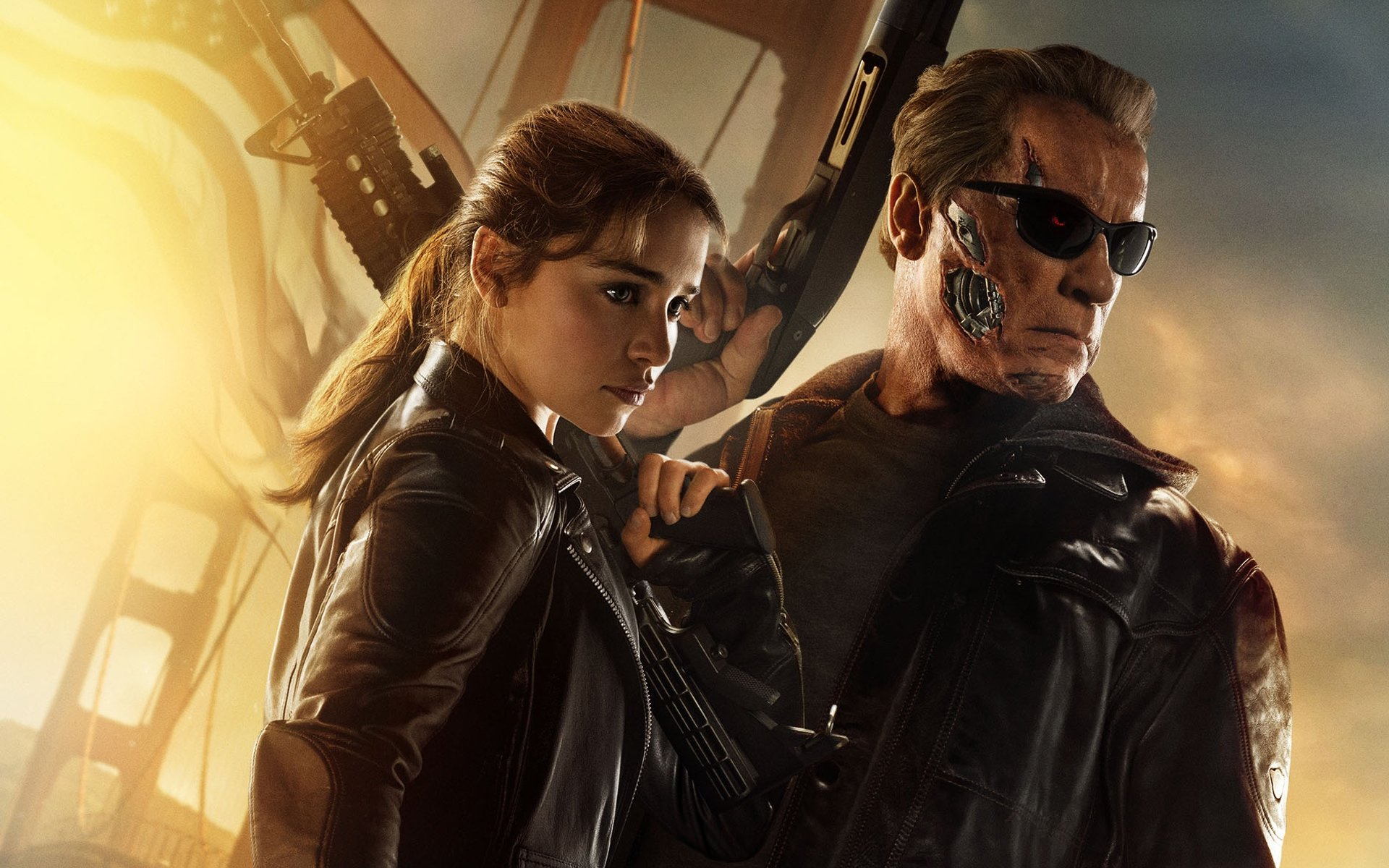 Movie - Terminator Genisys  Emilia Clarke Arnold Schwarzenegger Wallpaper