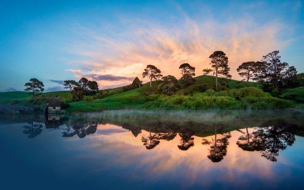 Hecho por el hombre Hobbiton Hill Lago Casa Árbol Nube Nueva Zelanda Reflejo Pond Cielo Molino de agua Fondo de pantalla HD | Fondo de Escritorio