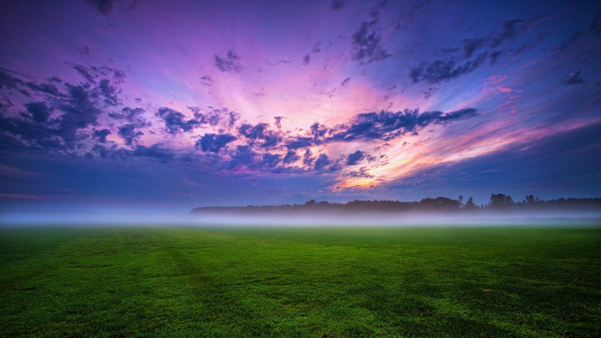 Earth - Field  Grass Cloud Sunrise Earth Nature Landscape Fog Wallpaper