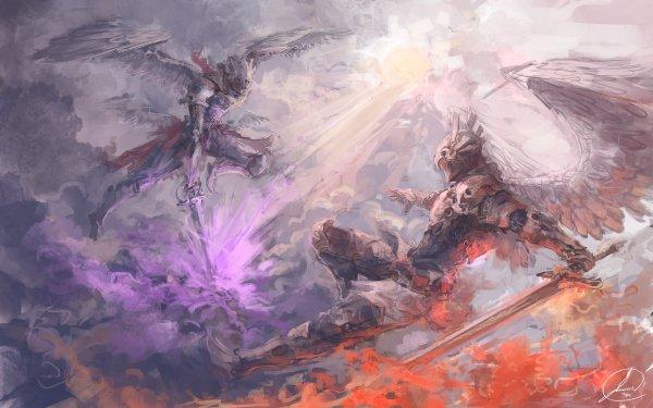 Fantasy Angel Warrior Fight Wings Sword Armor HD Wallpaper | Background Image