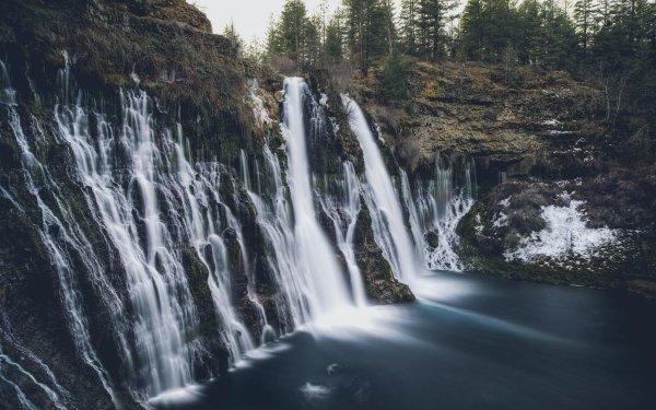 Earth Burney Falls Waterfalls Nature Cliff Water Lake Waterfall California HD Wallpaper | Background Image