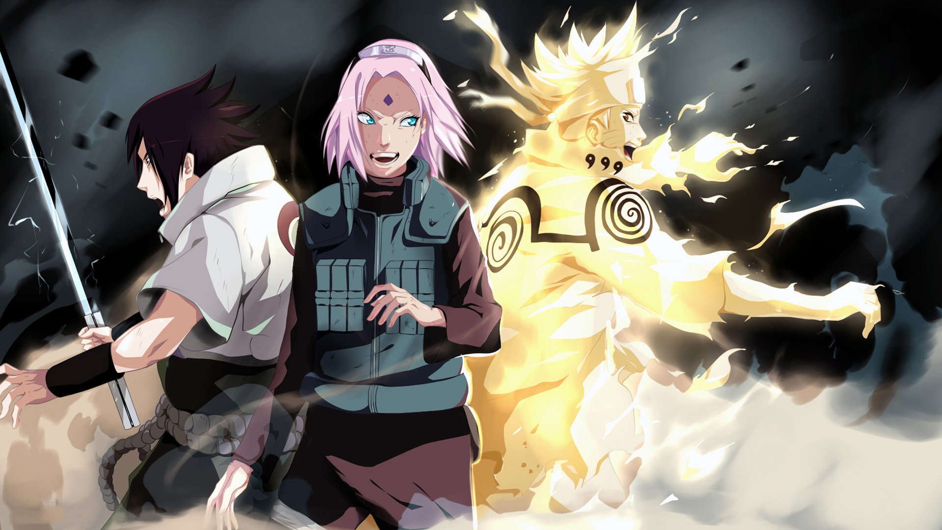 team 7: sasuke,sakura and naruto full hd wallpaper and background