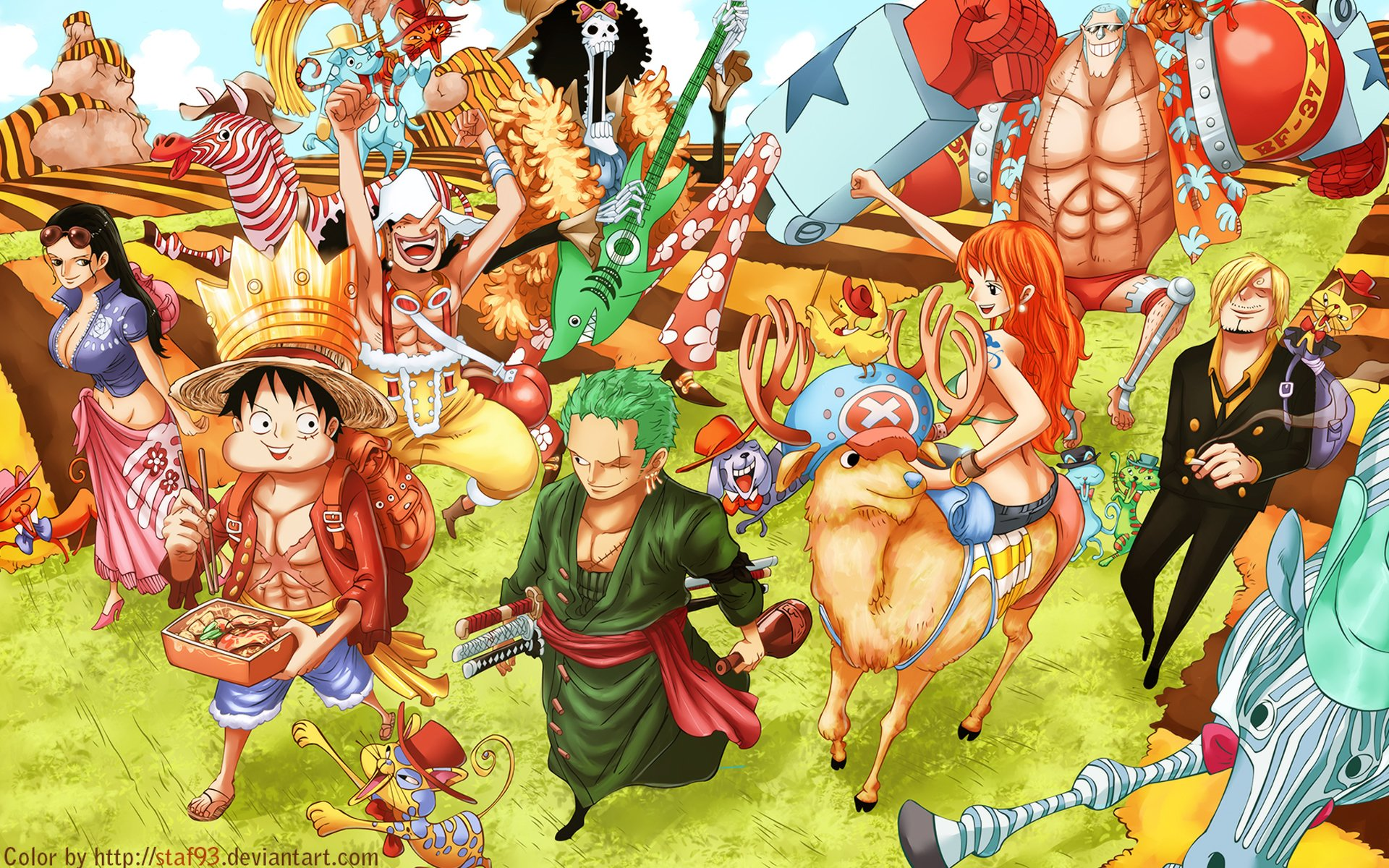 Anime - One Piece  Sanji (One Piece) Franky (One Piece) Nami (One Piece) Tony Tony Chopper Zoro Roronoa Monkey D. Luffy Nico Robin Brook (One Piece) Usopp (One Piece) Wallpaper