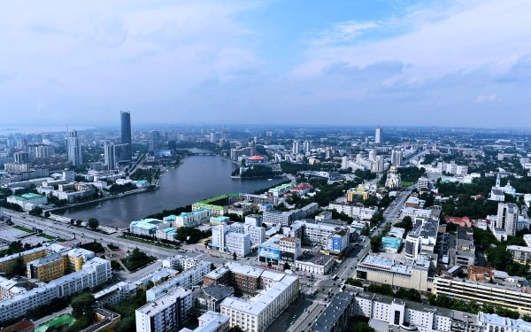 Man Made Yekaterinburg Cities Russia City Skyscraper Building River Road HD Wallpaper   Background Image