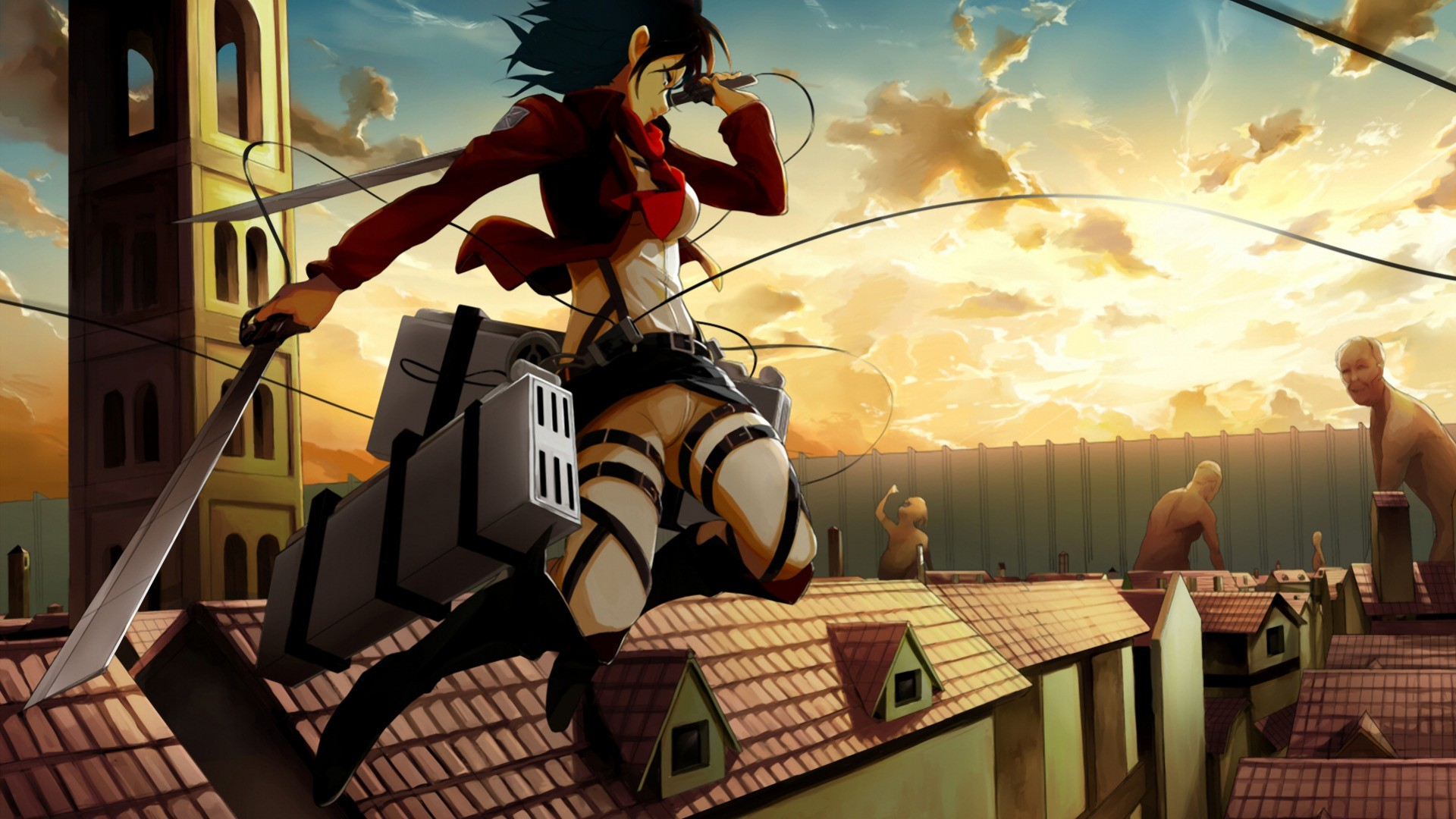 Shingeki No Kyojin Mikasa Ackerman Hd Wallpaper Background Image 1920x1080 Id 607880 Wallpaper Abyss