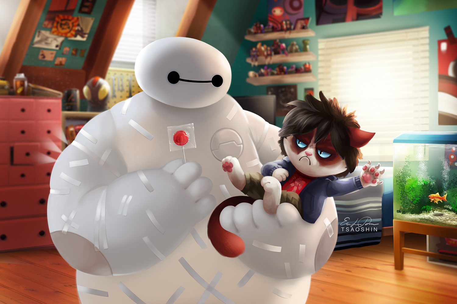 Big Hero 6 Grumpy Cat Crossover Wallpaper And Background Image