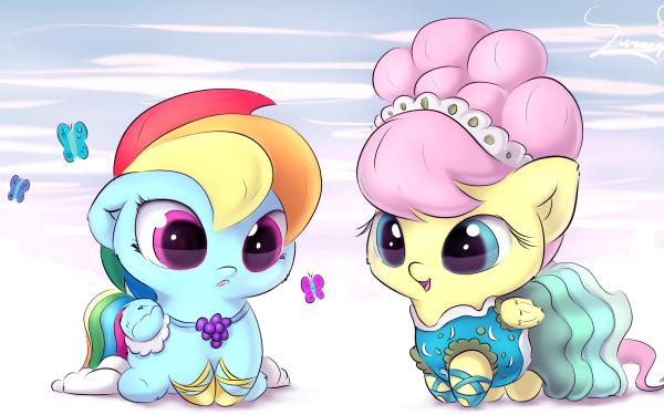 TV Show My Little Pony: Friendship is Magic My Little Pony Rainbow Dash Fluttershy Chibi Cute HD Wallpaper | Background Image