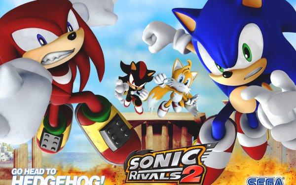 """Jeux Vidéo Sonic Rivals 2 Sonic Knuckles the Echidna Miles """"Tails"""" Prower Sonic le hérisson Shadow the Hedgehog Fond d'écran HD   Arrière-Plan"""