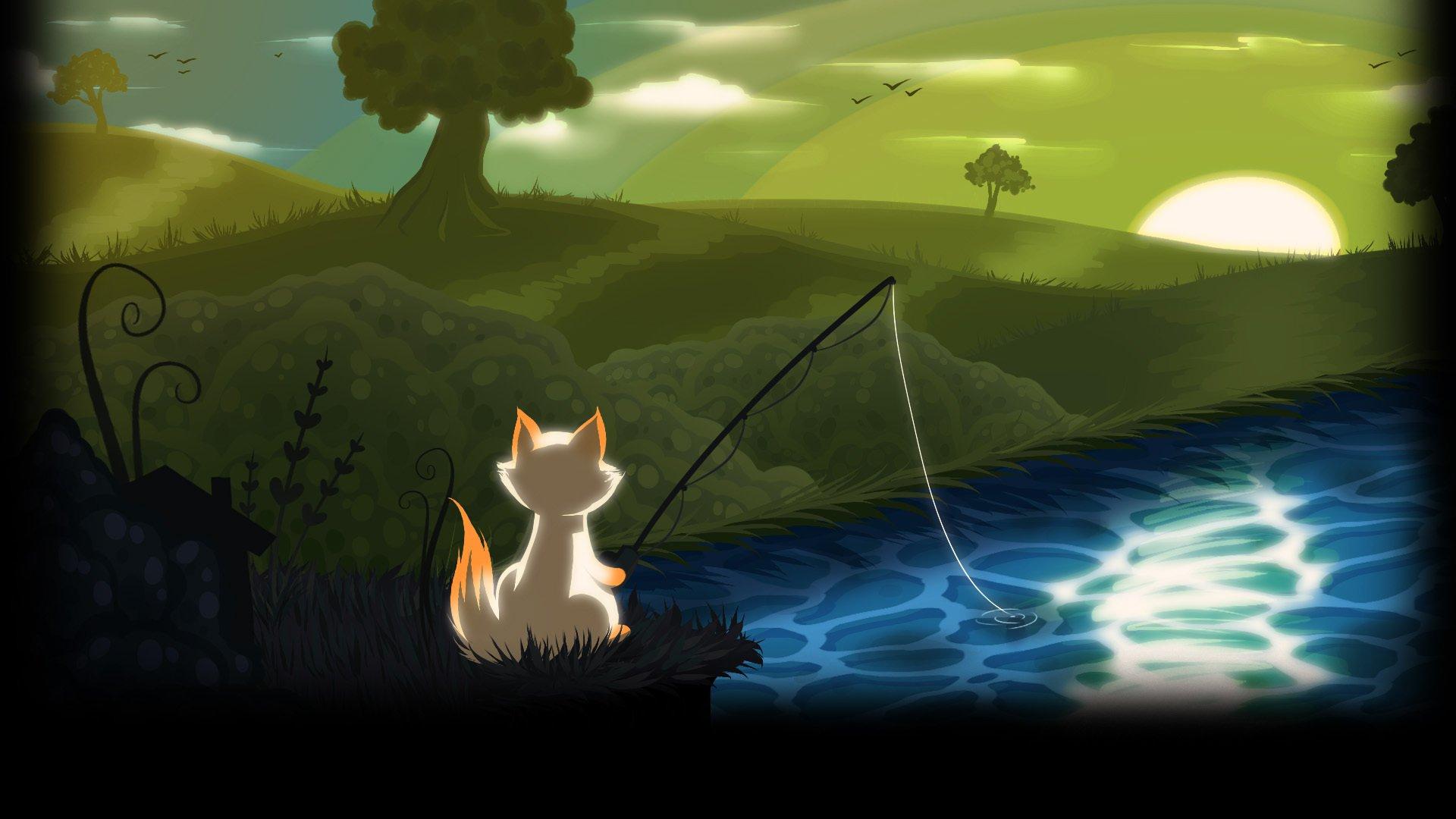 Cat Goes Fishing Full Hd Tapeta And T O 1920x1080 Id
