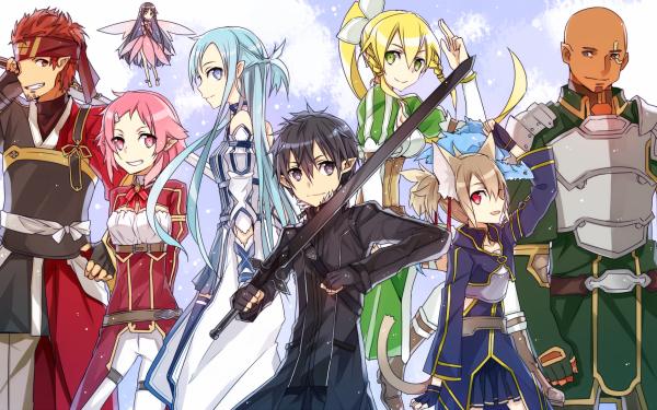 Anime Sword Art Online II Sword Art Online Agil Lisbeth Yui Asuna Yuuki Kirito Leafa Silica Klein HD Wallpaper | Background Image